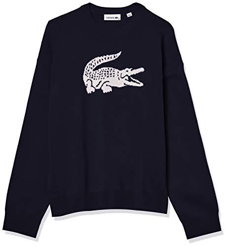 Lacoste Suéter de Cuello Redondo para Mujer Big Croc Interlock, Azul Marino/Harina de Pastel Blanco, 12