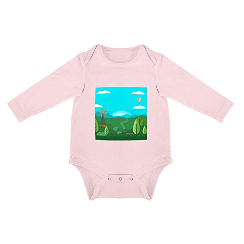 No Branded Langarm Baby Body Heißluftballon Windmühle Unisex Baby einfache Langarm Körper 0-24 Monate 3months