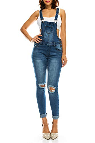 TwiinSisters Women's Fashion Ripped Distressed Stretch Skinny Fit Jumpsuit Denim Overalls for Women - Small, Blue