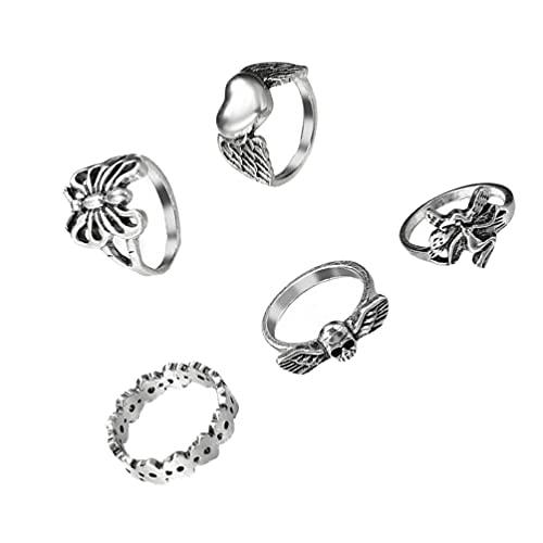 5 anillos retro de mariposas, regalo de joyería negra, joyería antigua, estilo punk gótico, para motociclista, Halloween, cráneo, regalo de cumpleaños para hombres y mujeres