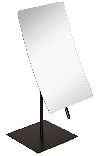 Hamilton Hills 5X Magnified Premium Modern Rectangle Vanity Makeup Mirror| Portable Polished Chrome Contemporary Finish | Adjustable Easy Positioning | Best Luxury Quality Magnifying Beauty Mirror