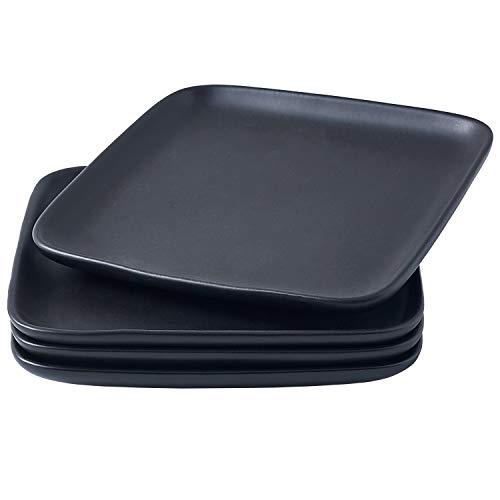 Bruntmor - Juego de 4 platos de porcelana de 10 pulgadas, elegantes platos de cena cuadrados para pizza, carne, pasta, ensalada, platos de porcelana para servir platos, color negro