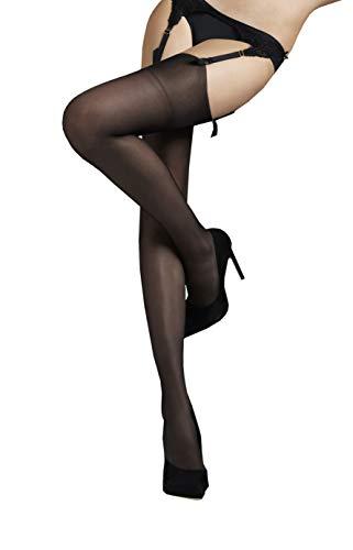 Marilyn erotische Straps-Strümpfe ohne Strapsgürtel, 15 Denier, Größe 40/42 (M/L), Farbe Braun (glace)