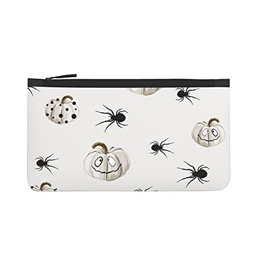 Monedero de Halloween blanco calabazas monedero de viaje maquillaje lápiz lápiz caso con asa bolsa de lona con cremallera