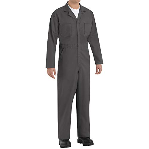 Red Kap Men's Long Sleeve Twill Action Back Coverall, Charcoal, 42