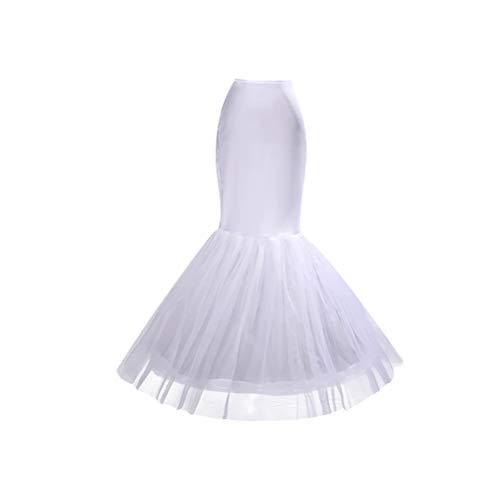 BESTOYARD Vestido de Novia de Sirena con Cola de Pescado Blanca Enagua Nupcial se desliza la Falda (Blanco, Tamaño Libre)