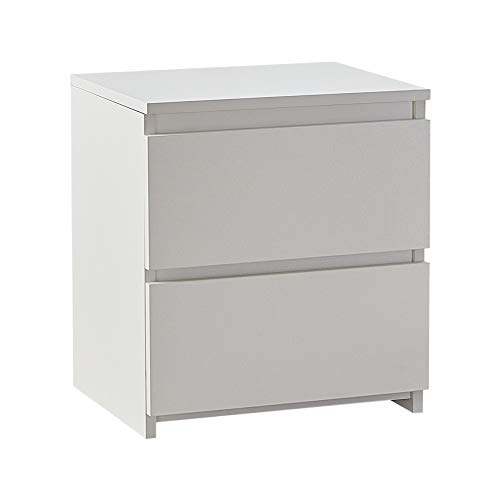 CLIPOP 2-Drawer White Bedside Table Wooden Night Stand Cabinet with No-handle Design, Chest of 2 Drawer Bedroom Furniture (2-Drawer, White-new)