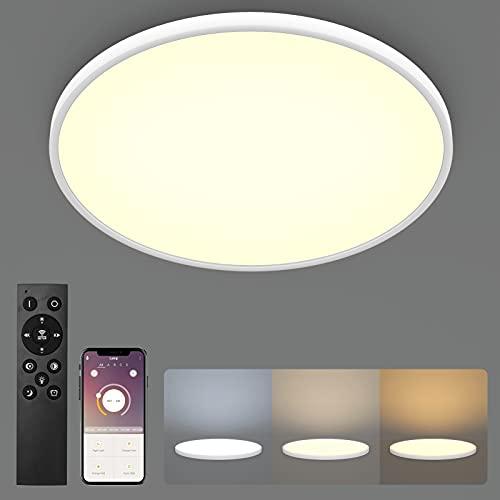 Klighten Plafon LED Techo Regulable 48W con Mando Distancia, 4320LM Lámpara de Techo Temperatura Regulable(2700K-6500K), Luz...