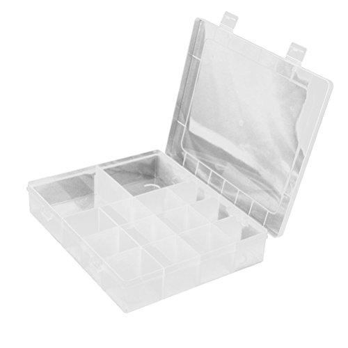 Tinksky 14-griglia plastica contenitore casi gioielli Organizer Box con divisori rimovibili (trasparente)