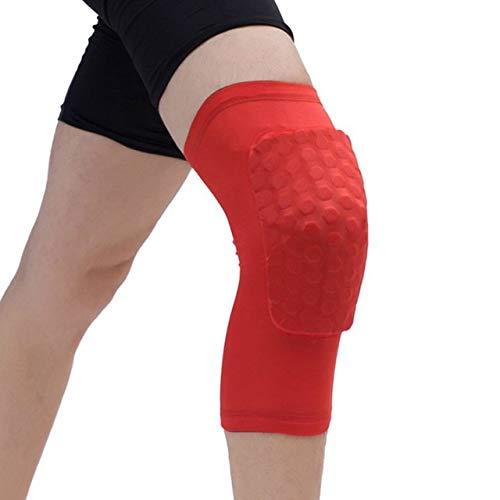 YUXIN Zhaochen Pads Honeycomb Knie, einteiliger, Basketball Knieschützer, Sport, for Volleyball und Knieschützer, Unterstützung Straps, Kompression Ärmel, for den Fußball (Color : Red, Size : L)