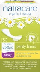 Natracare Tanga Panty liners, with wings are designed for string / tanga-style underwear. The liners are made with certified, organic cotton and completely chlorine and plastic free and made from vegetable cellulose 6 x 30 pieces