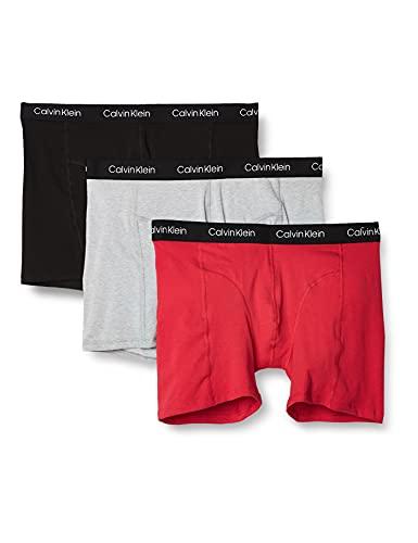 Calvin Klein Men's Underwear CK Axis 3 Pack Boxer Briefs, Empower/Wolf Grey Heather/Black, L