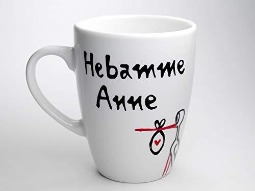 Geschenk für Hebamme, Tasse, handbemalt und personalisierbar, Hebamme Tasse Geschenk personalisiert zur Geburt