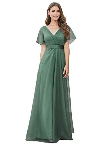 Ever-Pretty Robe de Demoiselle d'honneur Soirée Bal Col en V Manches Courtes A-Line Taille Empire Longue Tulle Femme Vert Mousse 46