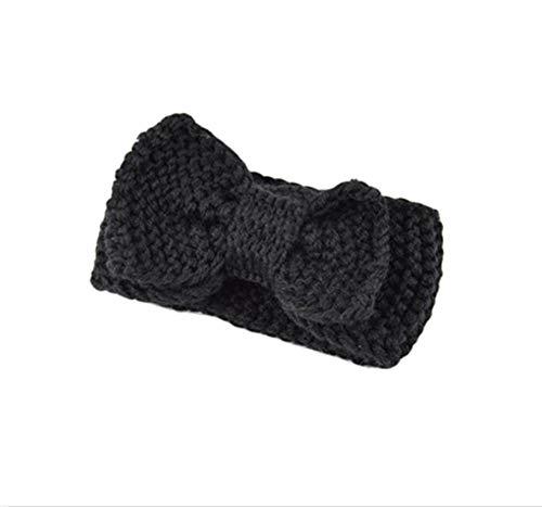 Hlnaughty Breien Wol Hoofdband Voor Baby Zachte Wol Winter Warm Oordopjes Baby Meisjes Jongens Grote Knoop Haarband Haaraccessoires Zwart