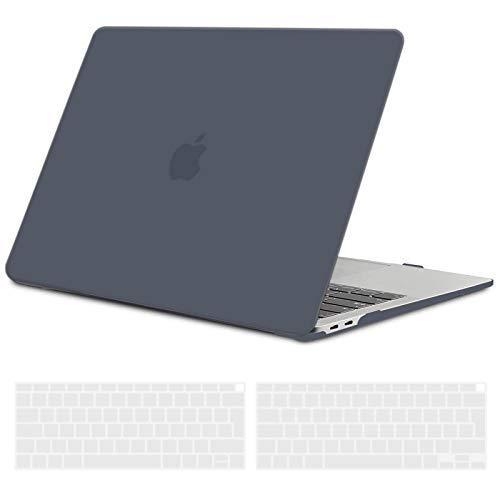 TECOOL Custodia MacBook Air 13 Pollici 2020 2019 2018 (Modello: A2179/A1932), Plastica Case Cover Rigida Copertina con Copertura della Tastiera in Silicone per MacBook Air 13.3 Touch ID - Nero Chiaro