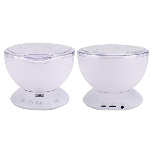 Mxzzand Proyector de luz Nocturna LED Ocean Projector 7 Modos de proyección 4 Tipos de música hipnótica con Sensor táctil para MP3, móvil(White)