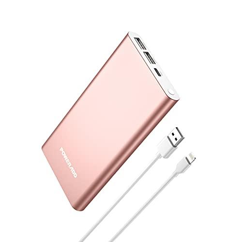 Power Bank 12000mAh, Pilot 4GS Externer Akku mit 8 pin Eingang, 2 USB Output (3A) tragbare Powerbank Ladegerät geeignet für ipad iPhone 13 12 11 xr xs Samsung Galaxy Huawei Xiaomi Tablette (Rosa Gold)
