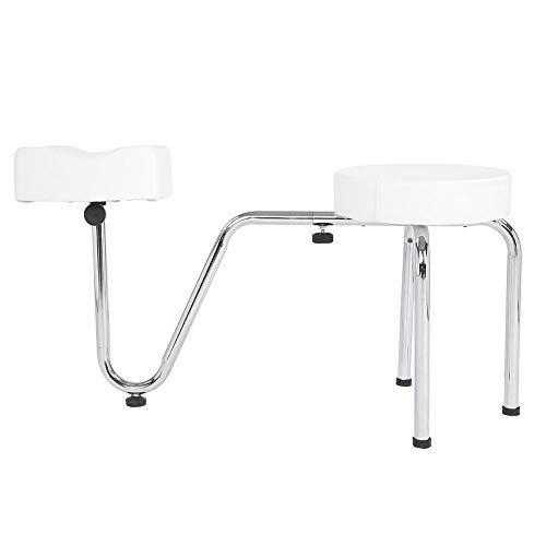 2 Colors Adjustable Nail Stool, PU Leather Pedicure Footrest Tattoo Leg Arm Rest Leg Rest Chair for Manicure Tattoo Beauty Salon(white)
