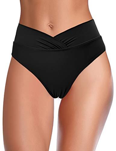 SHEKINI Traje de Baño para Mujer Abdominal Cintura Alta de Bikini Pantalones de natación Ruched Color Sólido Bañadores Retro Ropa de Playa Bikini Bragas (Negro B, Medium)