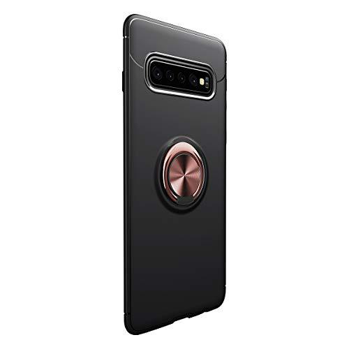 Funda para Samsung Galaxy S10/Galaxy S10 Plus Teléfono Móvil Silicona Bumper Case Funda con Anillo Giratorio de 360 Grados Rotaria Ring Holder Protectora Caso (Samsung Galaxy S10, Negro + Oro)