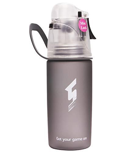 Beber y rociar deportes Botella de agua, Sin BPA & Eco-Friendly Tritan, rápido flujo de agua se abre con 1-Click, Spray a prueba de fugas portátil para ciclismo Camping Senderismo al aire