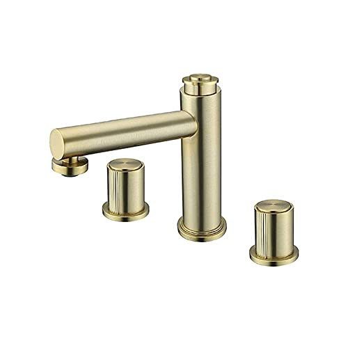YXZQ Grifo de baño de latón, Doble manija, Grifo de Lavabo de baño, montado en Cubierta, Grifo de tocador de baño de 3 Orificios con Agua fría y Caliente, Oro Cepillado