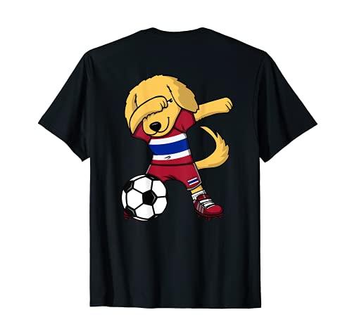 Dabbing Golden Retriever Perro Tailandia Fútbol Tailandesa Camiseta