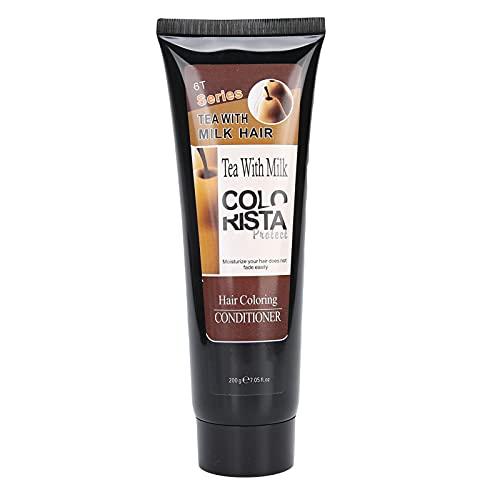 Acondicionador para teñir el cabello, Reparación de daños por bloqueo de fijación del color, Crema anti-decoloración Máscara para el cabello anti-decoloración-200ml(Castaño)