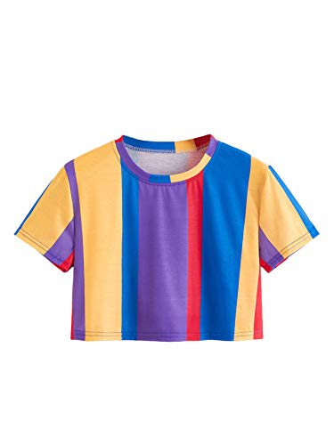 SweatyRocks Women's Short Sleeve Round Neck Colorblock Stripe Tee Shirt Crop Top (Small, Multicolor)