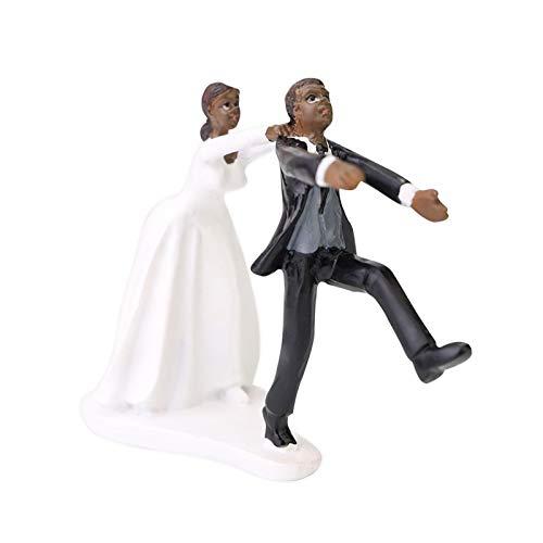 Cake topper matrimonio, Decorazione della torta nuziale della decorazione della bambola dello sposo e della sposa di discendenza africana, Regalo artigianale per bambola divertente decorazione per fes