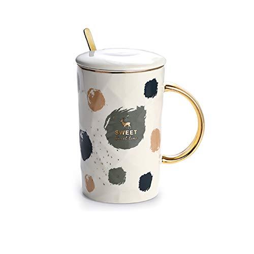 YIFEI2013-SHOP Tazas Esmerilado Negro Oro Taza de Leche de Trend Hotel Creativo Taza Taza de café de cerámica con Tapa Cuchara Desayuno Copa 450ml de Gran Capacidad Tazas de Café