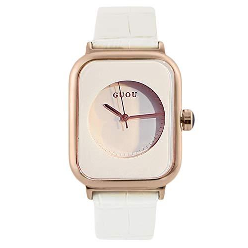 RORIOS Moda Mujer Relojes Cuarzo Analogico Relojes Cuadrado Dial con Correa en Cuero Casual Niña Reloje Negocios Mujer Relojes