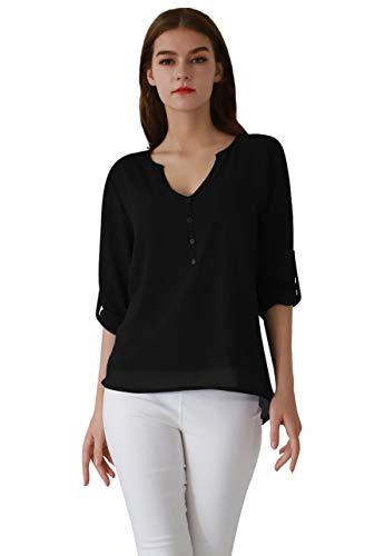 OMZIN Damen Langarmshirt V Ausschnitt Oberteile Chiffon Henley Shirt Elegante Blusen...
