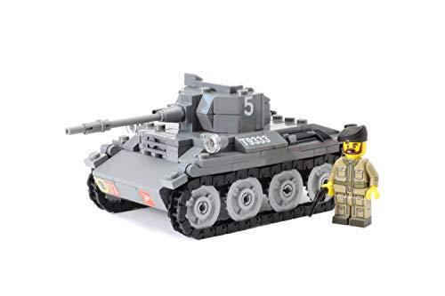 BricksStuff Tanque Liviano MK VII - Tetrarch con Figura I Soldado Británico de la Segunda Guerra Mundial, Accesorios Personalizados de BrickArms | Kit con Instrucciones | Compatible con Lego®