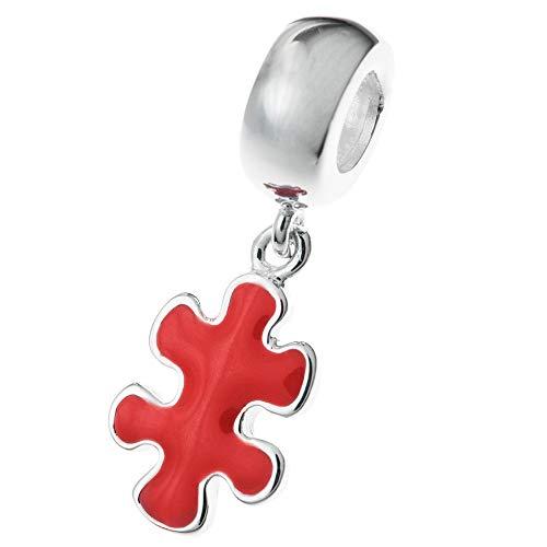 Plata de ley 925 Autismo Conciencia Jigsaw Puzzle Juego Pieza Esmalte Rojo Cuelga Cuenta Para Pulseras Europeas