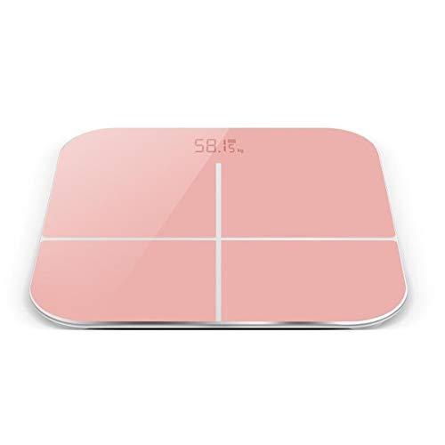 BHJqsy Básculas de baño de Peso Digital de Alta precisión con tecnología Paso a Paso, Que Incluyen Cinta de medición volumétrica, 28st / 180kg / 400lb, Pantalla retroiluminada (Color : Pink)