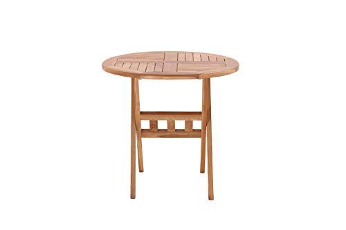 Möbilia® tuintafel, 80 cm rond, teak teakhout L = 80 x B = 80 x H = 75 cm natuur