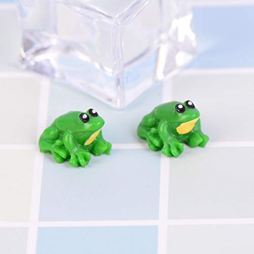 Vilito 2019 2 Pcs Little Frog Doll House Miniatures Cute Fairy Garden Gnome Moss Terrarium Decor Crafts - Figurines Silver Metal Miniatures