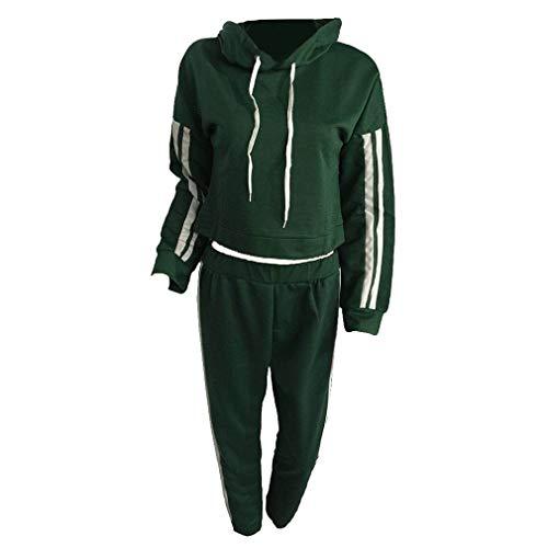 Yying Casaul Chándal Mujer 2 Piezas Set Top y Pantalones de Raso de Rayas Patchwork Sexy Sudadera Sweat Suit Verde del ejército L