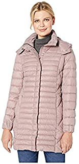 Kenneth Cole New York Women's Thigh Length Zip Puffer Jacket with Hood