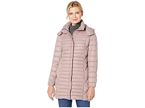 Kenneth Cole Women's Thigh Length Zip Puffer Jacket with Hood, pink/660, X-Large