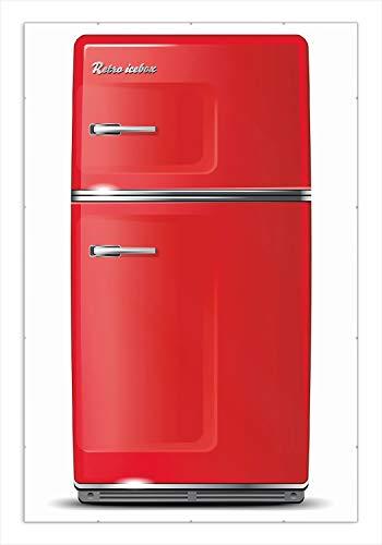 Wallario Wandbild Roter Kühlschrank in Premiumqualität Rahmenlos, Größe: 61 x 91,5 cm