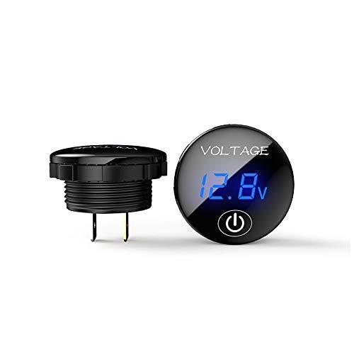 Motorrad DC Voltmeter 5V-48V LED Digital Voltmeter Batteriekapazitätsanzeige Voltmeter mit Touch-Schalter(Blau)