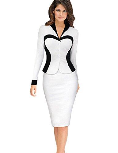 Minetom Damen Elegante Bodycon V Kragen Flouncing Spitzen Party Kleid Cocktailkleid Business Stretch Kleid Weiß DE 40