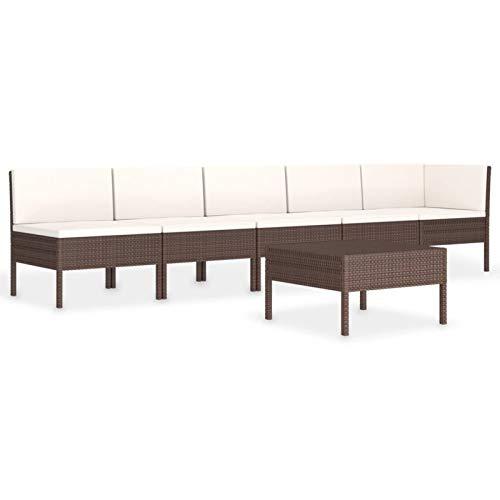 Tidyard Set Muebles de Jardín 6 pzas y Cojines Juego de Sofás para Jardín Exterior Patio con Mesa Ratán Sintético Marrón