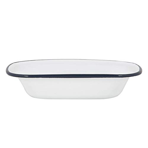 Argon Tableware White Enamel Pie Dishes - Steel Outdoor Camping Baking Cookware - 20cm - Navy