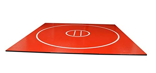 AK Athletics 12' x 12' Roll-Up Home Use Wrestling Mat Red with White Circles and Starting Lines