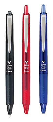 パイロット 水性ボールペン Vコーンノック式 05 極細 3色 黒/赤/青 LVKN-15EF-B/R/L 3色3本組み