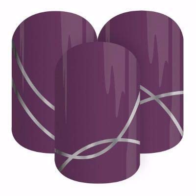 Wine Not - Jamberry Nail Wraps - HALF Sheet - Purple with Metallic Silver Accent